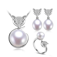 9 10mm Cute Fashion fresh water pearl Animal jewellery sets for women pearl in pendant earring ring jewelry set natural white