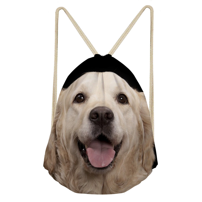 THIKIN Women Drawstring Bag Golden Retriever Dog Print Women Men Travel Storage Package Teenagers Backpack Customize Ball Pocket