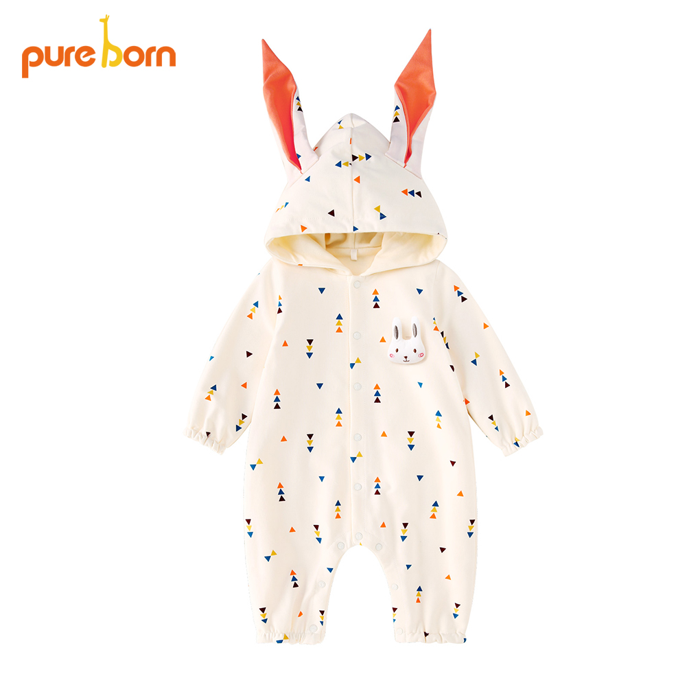 Pureborn Baby   Rompers   Hooded Cartoon Newborns Infant Girls Boys Jumpsuit Rabbit Baby Clothes One Pieces Cotton Costumes