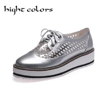 2016 Rope Platform Oxford Shoes For Woman Pink Silver Creepers Bling Flats Lace Up Casual Oxfords