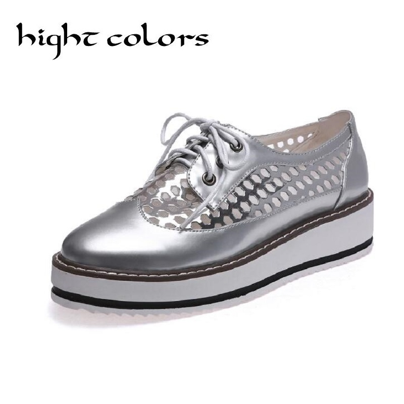 Summer Gauze Hollow Platform Oxford Shoes For Woman Pink Silver Creepers Bling Flats Lace-Up Casual Women Brogue Shoes 3 Colors phyanic 2017 gladiator sandals gold silver shoes woman summer platform wedges glitters creepers casual women shoes phy3323
