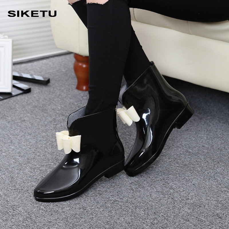 Women Flower Bowtie Spring Ankle Boot Winter Rain Boots Female Waterproof Solid Rubber Platform Baby Rain Shoes Ladies Footwear