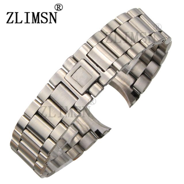 ZLIMSN 20mm 16mm SS Escovado Relógio Extremidade Curva Bandas Pulseiras