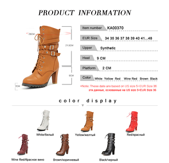 TAOFFEN Ladies shoes Women boots High heels Platform Buckle Zipper Rivets Sapatos femininos Lace up Leather boots Size 34-48 5