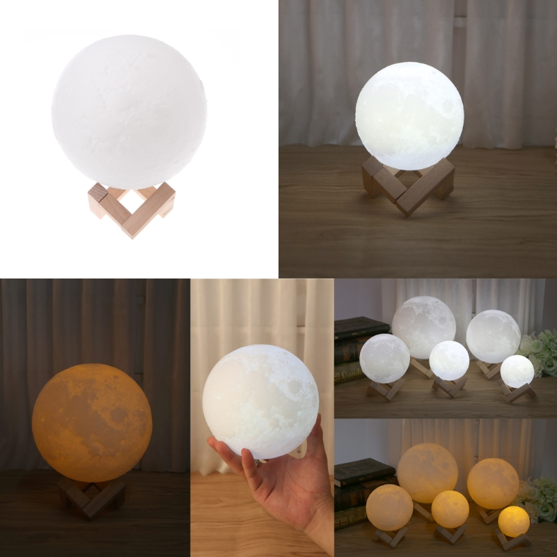 3D Print 2 Color Change Moon luminarias Baby touch Night lights christmas lights outdoor moon lamp Home Decor with Wood Holder