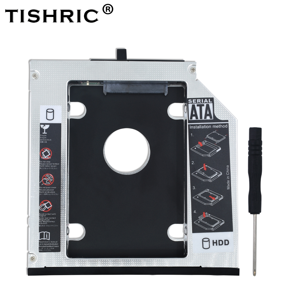 """TISHRICAluminum 12.7mm 2nd HDD Caddy SATA 3.0 2.5"""" SSD Case Enclosure Optibay For IBM for Lenovo ThinkPad T510 T520 T530 T420"""