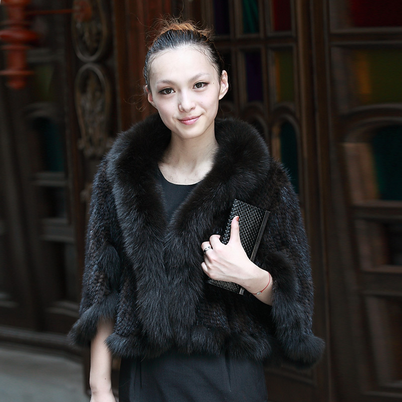 Winter Lady Genuine Knitting Mink Fur Shawls with Fox Fur Trimming Female Slim Pashmina Wraps Free Shipping