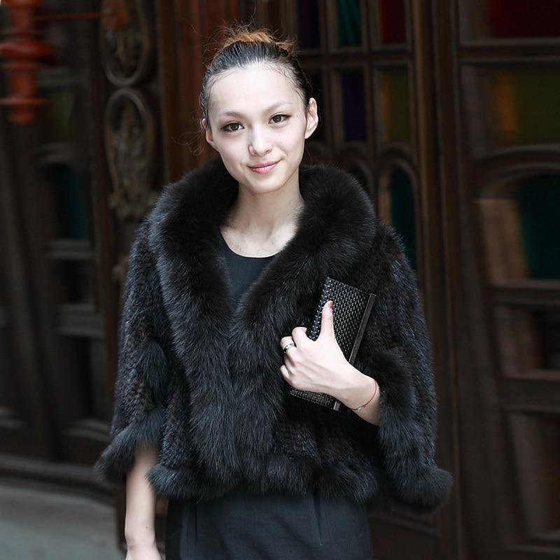 Hiver Lady Véritable Tricotage de Fourrure De Vison Châles avec Fox De Règlage De Fourrure Femme Mince Pashmina Wraps Livraison Gratuite