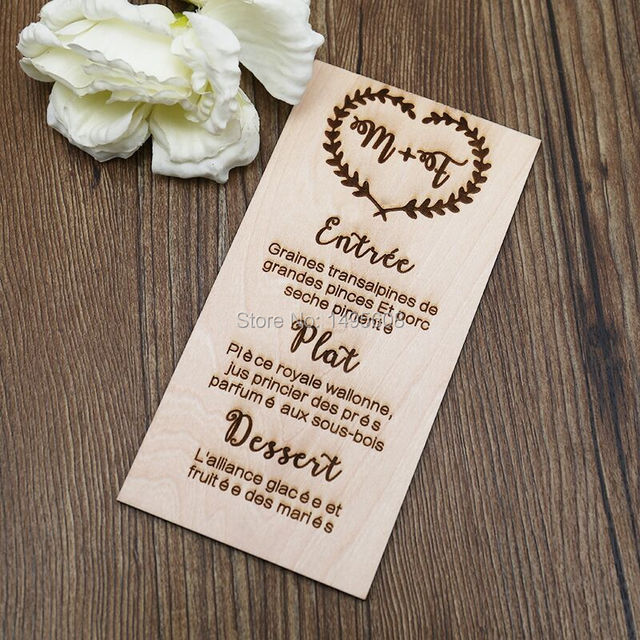 rustic wedding table menu sign and mini easel laser cut and etched on maple wood - Maple Garden Menu