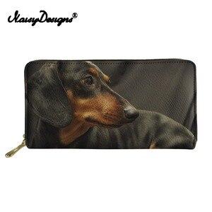 Long Wallet Dachshund Dog Printing Women Fashion Pu Leather Clutch Bags Costom Cute Purse Ladies Card Coin Holder Zipper Purse(China)