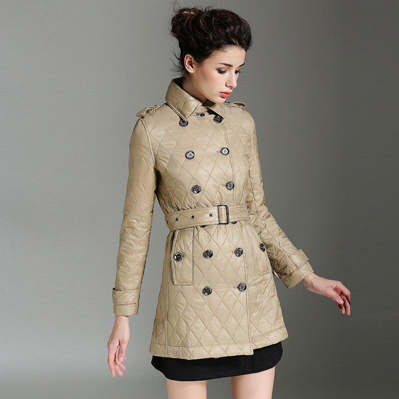 Noir Veste Manteau Chaud Automne dark Vêtements Printemps Burdully Khaki Parka Hiver De Nouveau kaki 2018 Femmes Rembourré Coton Longue D'hiver Losange qTX14gzw