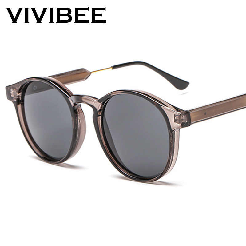 VIVIBEE Gothicโปร่งใสผู้หญิงแว่นตากันแดดVintage Vintage 90Sรอบดวงอาทิตย์แว่นตา2019ผลิตภัณฑ์Uv 400ผู้หญิงSunglases
