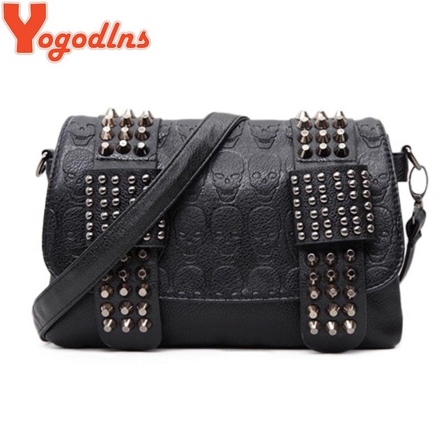 Yogodlns Women Black Leather Messenger Bags Fashion Vintage Messenger Cool Skull Rivets Shoulder Bags sac a main bolsa