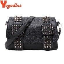 Yogodlns mulheres preto couro mensageiro sacos de moda vintage mensageiro legal crânio rebites sacos de ombro sac a bolsa principal