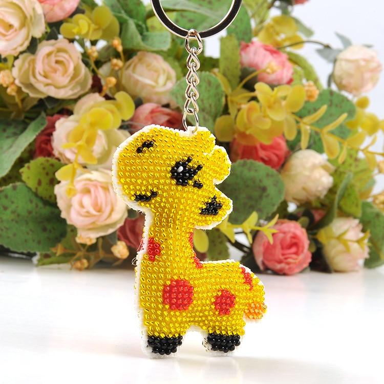 46 Key Chain Bead Cross Stitch Stamped Needlework Embroidery Crafts Printed Cross-Stitching Kit Chinese Lucky Gift Giraffe