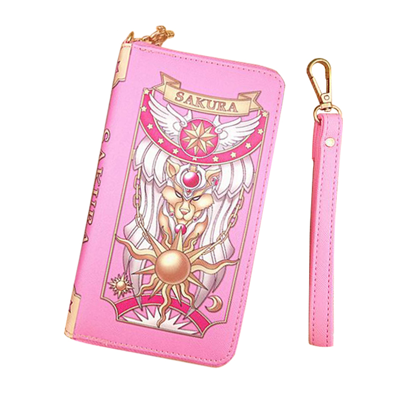Japan Card Captor Sakura Grimoire Women Anime Wallet Women Long Leather Female Clutch cartera mujer Money Cards Zipper Cute Bags