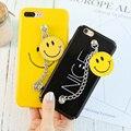 Kisscase case para iphone 7 7 plus 6 6 s más cara de la sonrisa de la cadena pulsera de plástico duro cubierta de bolsa para iphone 6 6 s 7 7 plus capa Coque