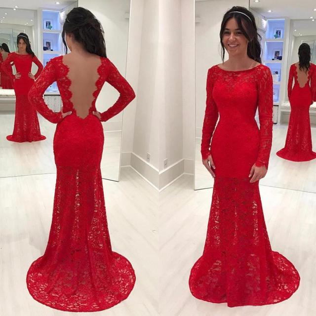 SuperKimJo Red Lace Prom Dresses 2018 Long Sleeve Cheap Mermaid Open Back Evening  Prom Gown Vestido Longo b4d96806a4e4