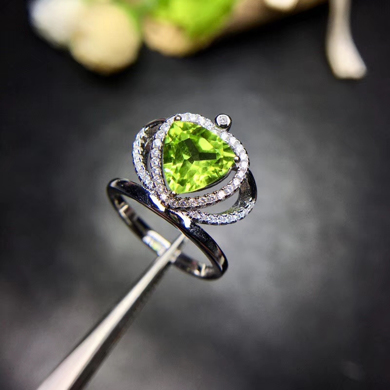 Fashion elegance crown heart Natural green peridot gem Ring S925 Silver Natural olivine Ring girl Women