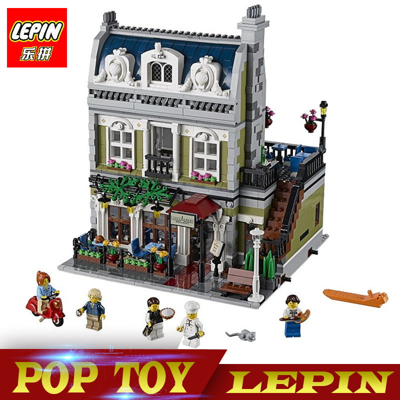 New Lepin 15010 Expert City Street Parisian Restaurant Model Building Kits Blocks Children Toys Compatible legoed With 10243 new lepin 16008 cinderella princess castle city model building block kid educational toys for children gift compatible 71040