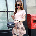 Hotsale Women Sets Fashion Pink Short Sleeve Elastic Crop Top Set Summer O-Neck Crop Top And Skirt Floral Set Women 2 Piece Sets