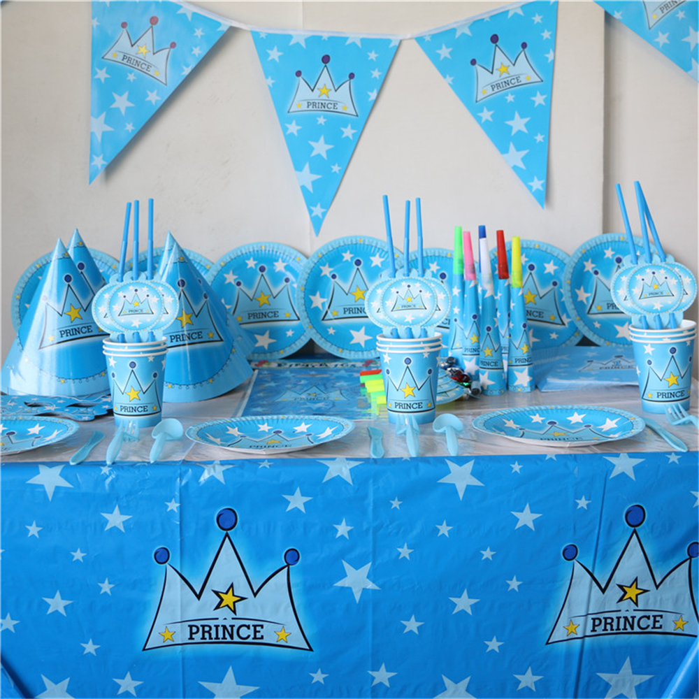 My prince crown 1st theme birthday baby shower decoration for Baby boy birthday party decoration
