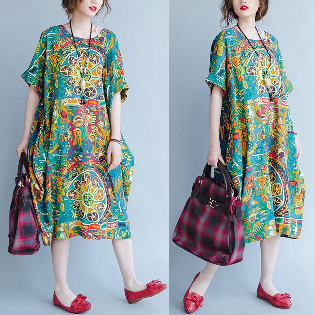 Oversized Cotton Linen Vintage Dress Women Casual Loose Long Summer Dress  2019 Graffiti Midi Boho Dress b415807d6fc8