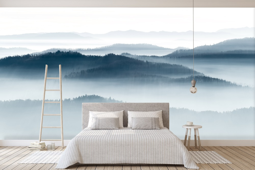 [Self-Adhesive] 3D Foggy Grey Mountains 5 Wall Paper Mural Wall Print Decal Wall Murals