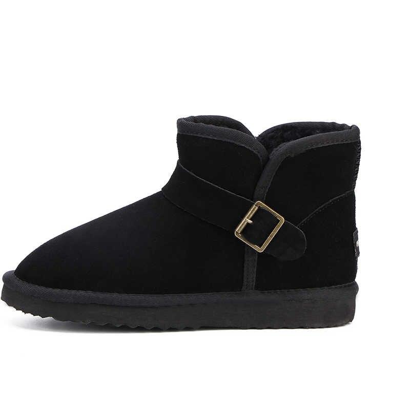 ה-MBR כוח למעלה איכות חדשה אופנה אמיתי עור פרה עור מגפי שלג קלאסי Mujer Botas חורף נעלי נשים קרסול מגפיים