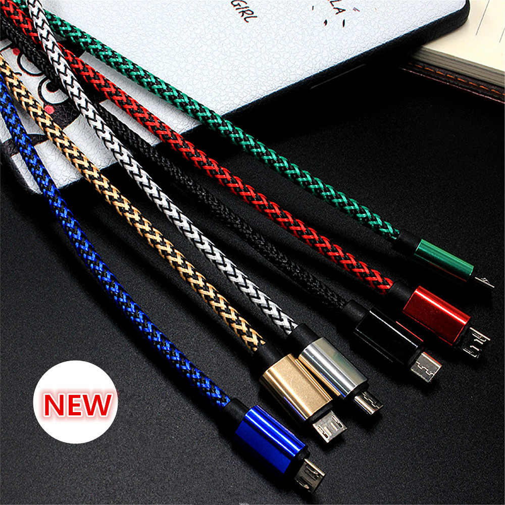 1/2/3 Meter Braided Micro USB Charging Cable For IPhone 5 5S 6S 7 8 Plus X Android Type-C