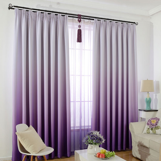 Window Curtain For Kids Bedroom Solid Color Gradient