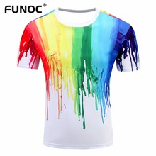 New Summer Fashion 3D T-Shirt Men Women Multicolor Paint Printed Hip Hop Crewneck Short Sleeve Men T-shirt Tee Tops Wholesale