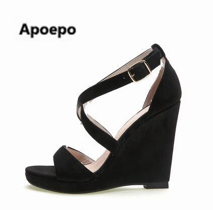 цены Apoepo women sandals sexy 10 CM wedges sandals high heels shoes women platform gladiator sandals buckle sandalia feminina 2017