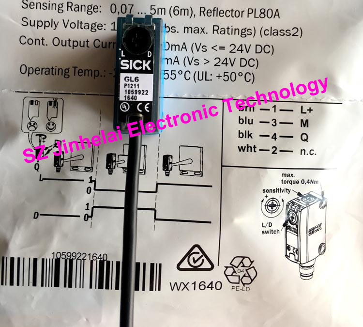 100% New and original  GL6-P1211, GL6-P1212  SICK  Photoelectric switch 100% new and original fotek photoelectric switch a3g 4mx mr 1 free power photo sensor