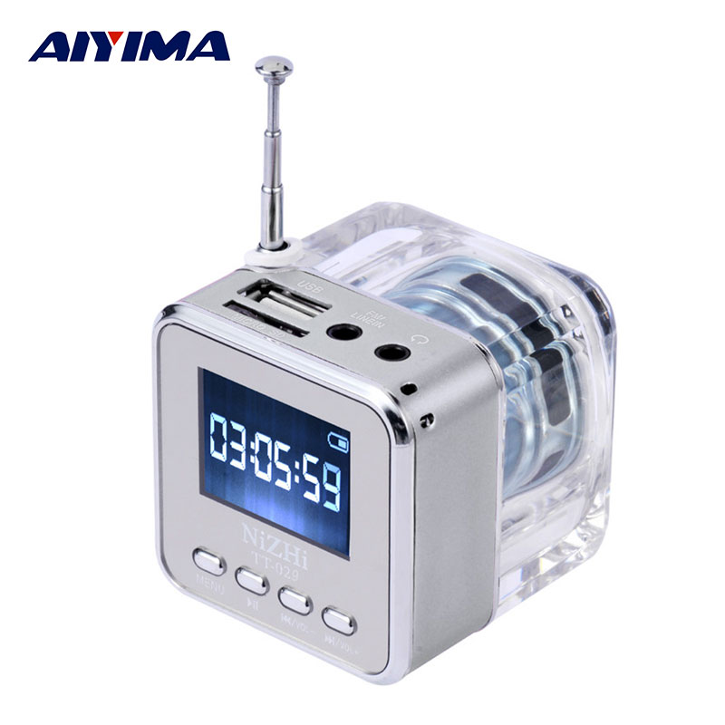 AIYIMA Portable Audio Speakers Micro USB Mini Stereo Crystal Flash Speaker Music MP3 MP4 FM Radio Receiver Lyrics Display Clock