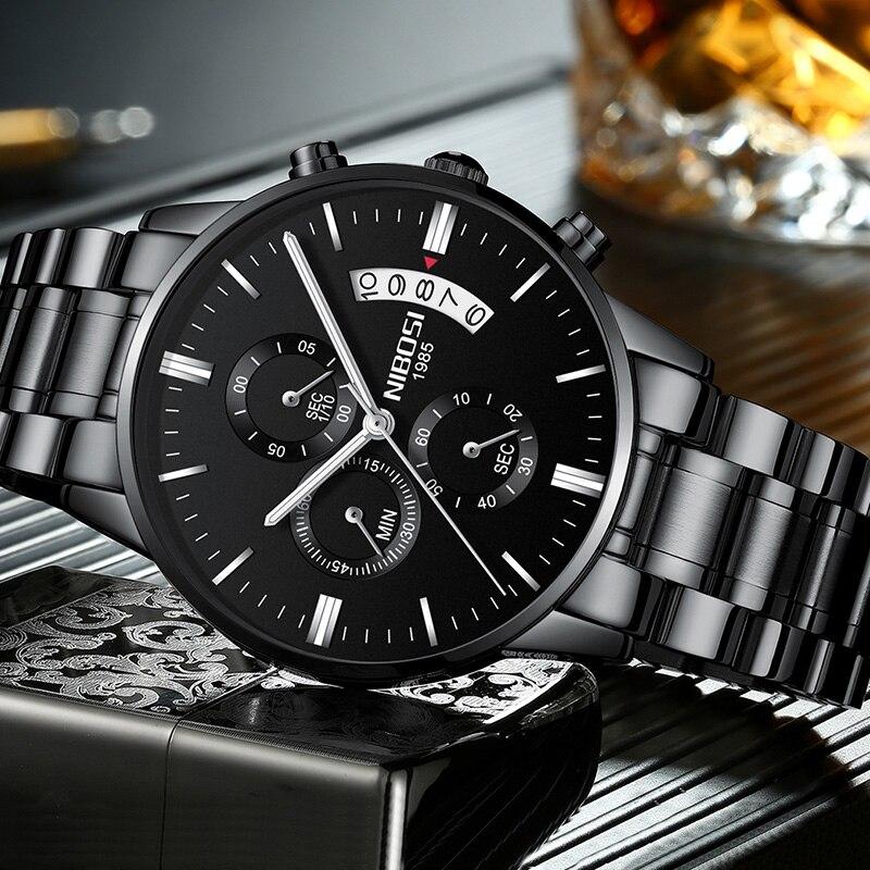 NIBOSI Horloge Zwarte Mannen Horloges 2018 Luxe Merk Sport Chronograaf Klok Mannen Horloges Rvs Heren Horloge Militaire Leger