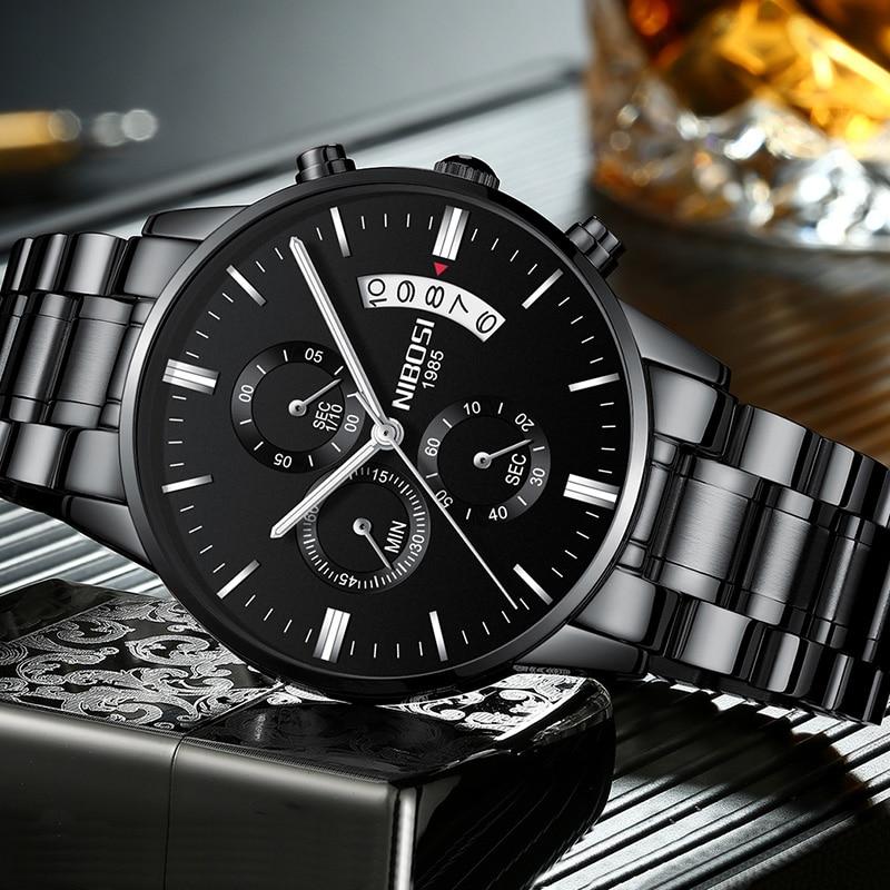 NIBOSI reloj Negro hombres relojes 2018 marca de lujo cronógrafo relojes hombres de acero inoxidable reloj militar del ejército