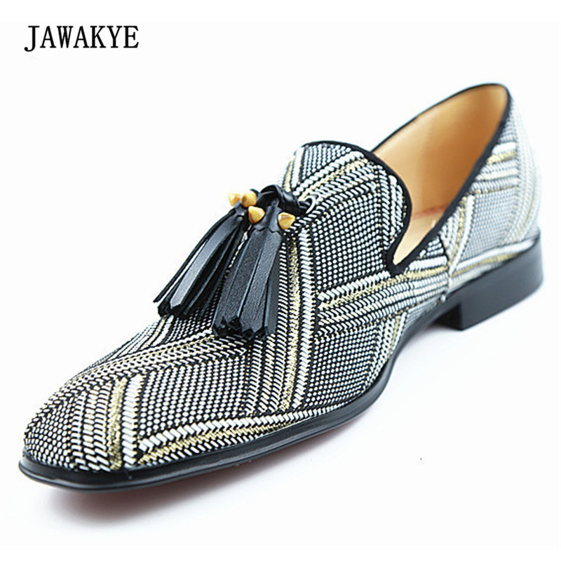 7a30e42399 Newest Luxury Stripe Leather Fringe Tassel Designer Shoes Men Round Toe  Flats Loafer Shoes Male Casual