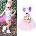 Everweekend 2017 New Bunny Print Halter Summer Rompers Tutu Cute Baby Clothing