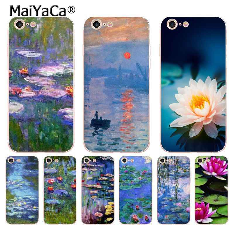 info for 1bd2c b2b67 MaiYaCa Monet Water Lilies hot painted transparent soft tpu phone case  cover for iPhone X 6 6s 7 8 8Plus 4S 5S 5C case coque