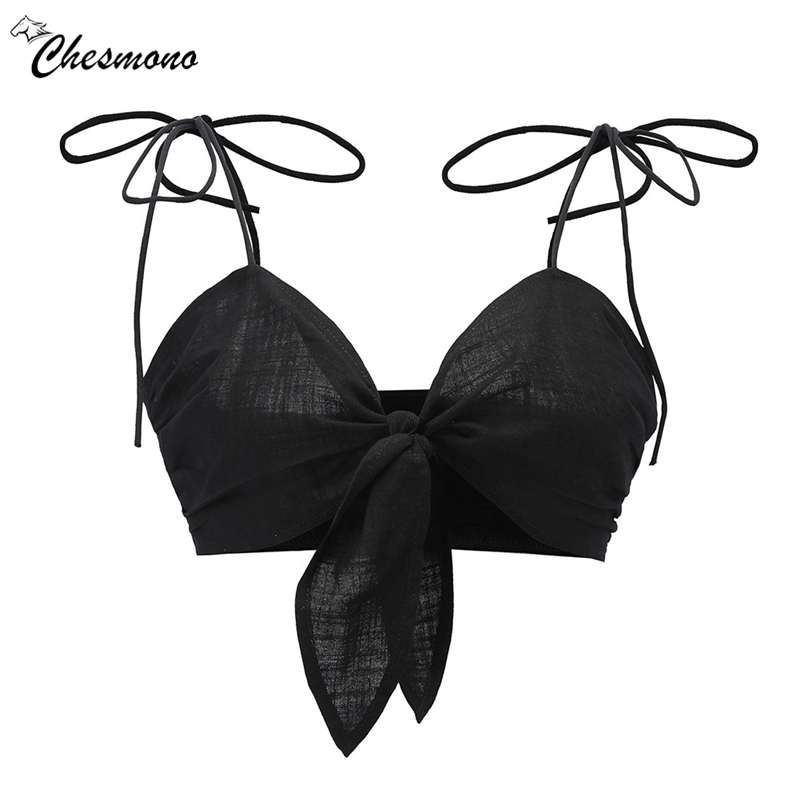Sexy strap bow black white crop   top   women V neck tie up short   top   tee female 2018 Summer beach casual camisole   tank