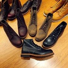 Yomior Модные Натуральная кожа темно-Красные ботильоны, осень-зима мужские уличные мотоботы, высокое качество крыла Обувь оксфорды