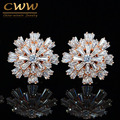 Luxury Cubic Zirconia Jewelry Rose Gold Plated Large Sparkling Snowflake Big Zircon Crystal Earrings For Girls CZ137