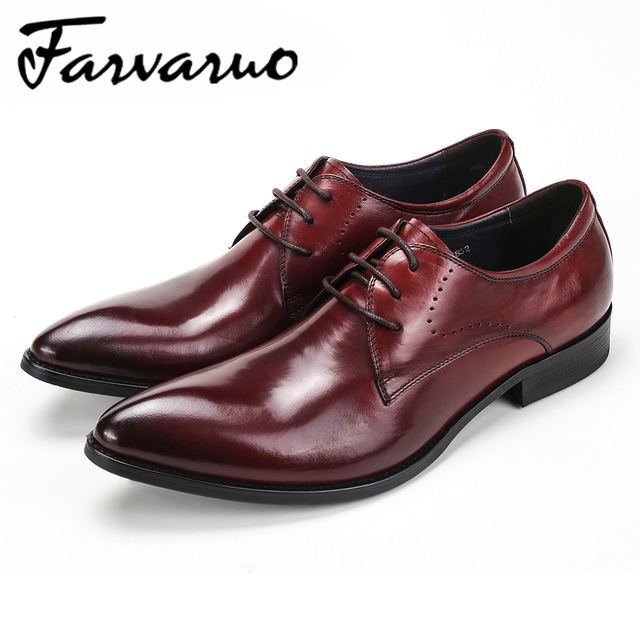 f2fd968206a9 Farvarwo Mens Business Flat Oxford Shoes Breathable Genuine Leather Pointed  Toe Black Luxury Formal Dress Shoe Men Casual Design-in Formal Shoes from  ...