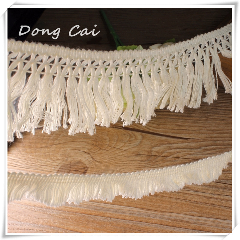 Dong Cai 2016 hot sale Knitted Cotton tassel Lace Ribbon,Beige Color,8 Yards/Piece,Craft &Gift Packing/Child Dress/Decoration