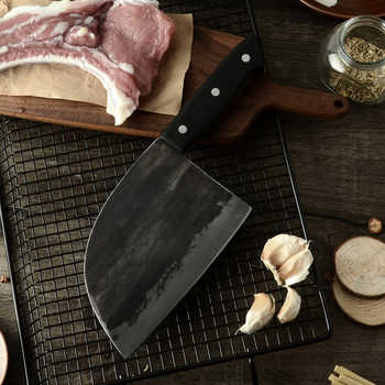 XYj Handmade Forged Chinese Butcher Kitchen Knife High Carbon Steel Chef Knives Bone Chopper Full Tang Handle Knife &Gift Sheath