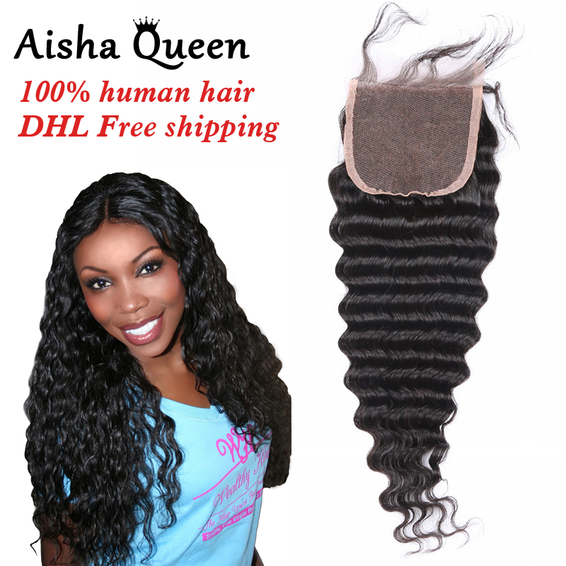 Lace Closure Deep Wave Remy 100% Brazilian Human Hair Closure 4x4 PrePlucked With Baby Hair Bleached Knots Natural Black Color