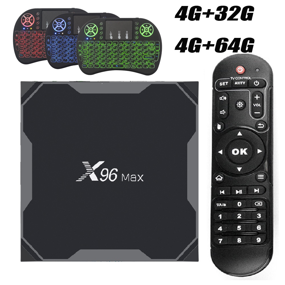 Android 8.1 X96MAX Amlogic S905X2 Android TV BOX 4 GB 64 GB Smart TV 2.4G & 5 GHz double Wifi Bluetooth 1000 M 4 K décodeur X96 Max