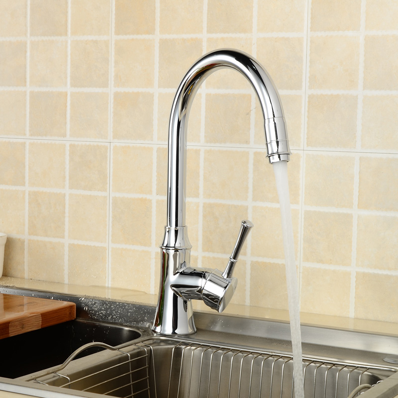 WEYUU Kitchen Faucet  Hot and Cold Water Classic Swivel Basin Faucet 360 Degree Rotation  Chrome