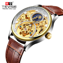 купить Tourbillon Men's Watches TEVISE Original Men's Automatic Watch Self-Wind Fashion Men Mechanical Wristwatch Leather relogio дешево